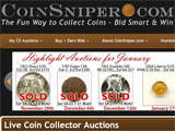 CoinSniper.com - numismatic penny or pay-per-bid auction